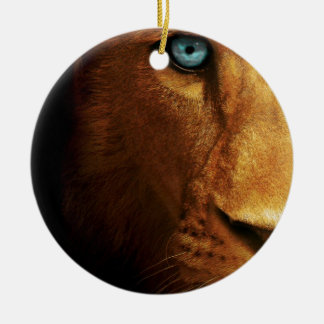 Lion Eye Blue Abstract Large head Ceramic Ornament