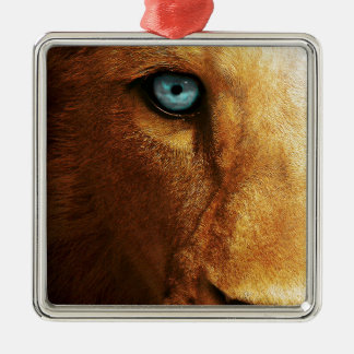 Lion Eye Blue Abstract Large head Metal Ornament