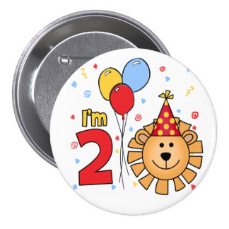 Lion Face  2nd Birthday Button