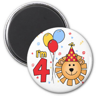 Lion Face  4th Birthday 2 Inch Round Magnet