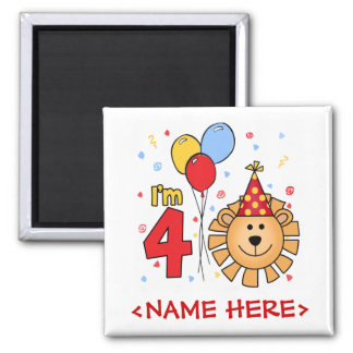 Lion Face  4th Birthday 2 Inch Square Magnet