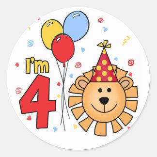 Lion Face  4th Birthday Classic Round Sticker