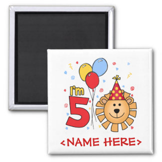 Lion Face 5th Birthday 2 Inch Square Magnet