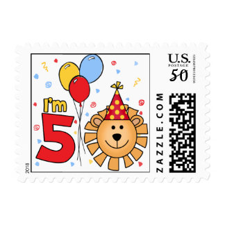 Lion Face 5th Birthday Postage