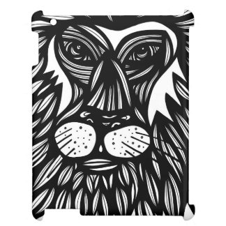 Lion Face Black and White iPad Cover