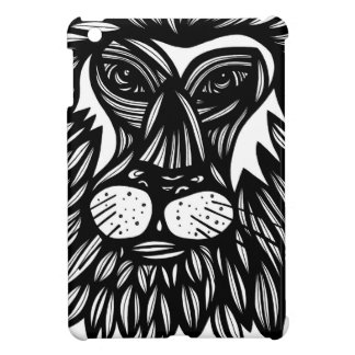 Lion Face Black and White iPad Mini Covers