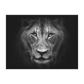 Lion Face Close Up Black and White Portrait Canvas Print