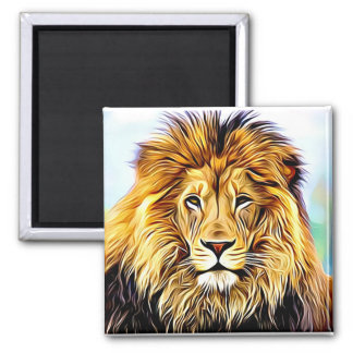 Lion face Digital painting Magnet