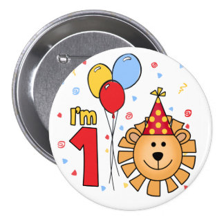 Lion Face First Birthday Button