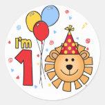 Lion Face First Birthday Classic Round Sticker