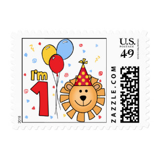 Lion Face First Birthday Postage