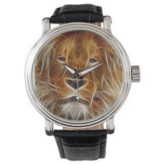 Lion Face Fractal Art Wildlife Wrist Watch