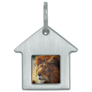 Lion face .King of beasts abstraction Pet Tag