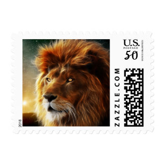Lion face .King of beasts abstraction Postage