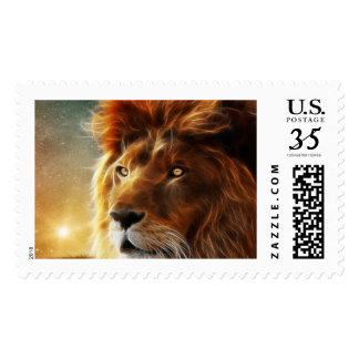 Lion face .King of beasts abstraction Postage Stamp