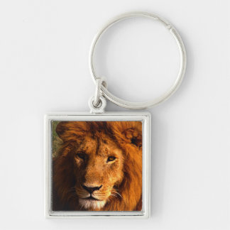 Lion Face Silver Keychain