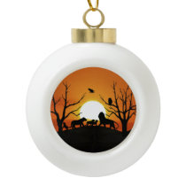 Lion family at sunset Africa Ceramic Ball Christmas Ornament