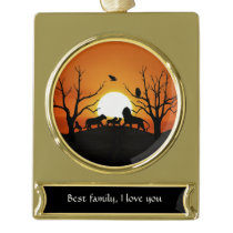 Lion family at sunset Africa Gold Plated Banner Ornament