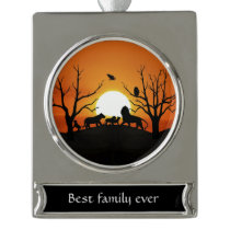 Lion family at sunset Africa Silver Plated Banner Ornament
