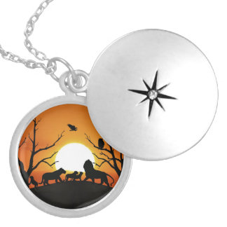Lion family at sunset Africa Silver Plated Necklace