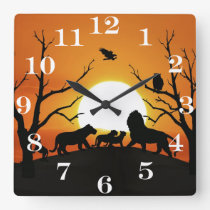 Lion family at sunset Africa Square Wall Clock