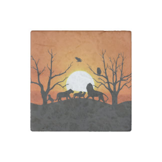 Lion family at sunset Africa Stone Magnet