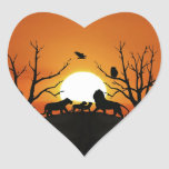 Lion family at sunset heart sticker