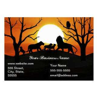 Lion family at sunset large business card