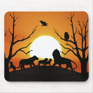 Lion family at sunset mouse pad