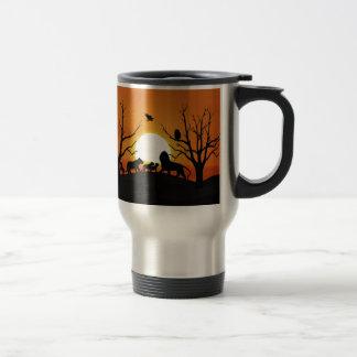 Lion family at sunset 15 oz stainless steel travel mug