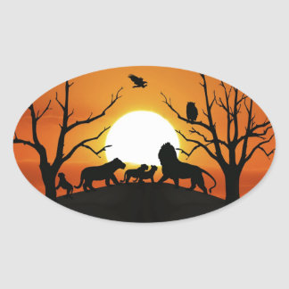 Lion family at sunset oval sticker