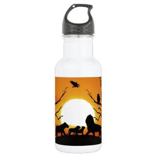 Lion family at sunset 18oz water bottle