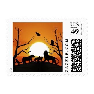Lion family at sunset postage stamps