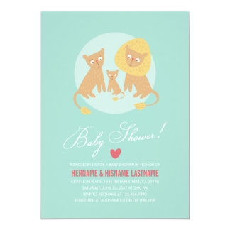 Lion Family Mint Couples Baby Shower Invite Round