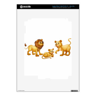 Lion family with cute little cub iPad 3 decals
