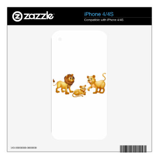 Lion family with cute little cub iPhone 4S skins