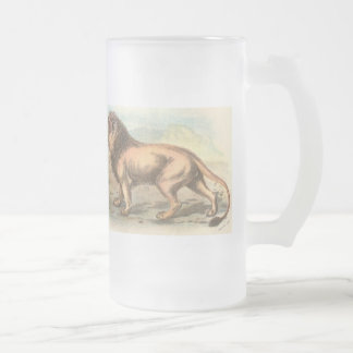 Lion, Felis leo Frosted Glass Beer Mug