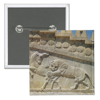 Lion fighting bull, relief east staircase 2 inch square button