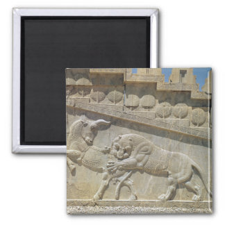 Lion fighting bull, relief east staircase 2 inch square magnet