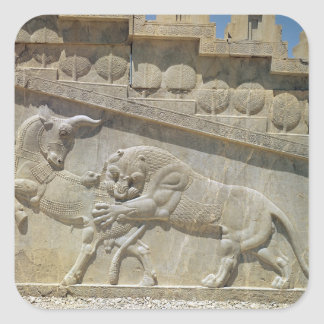 Lion fighting bull, relief east staircase square stickers