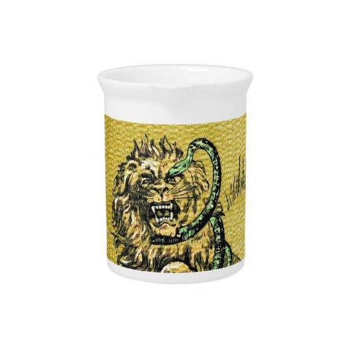 Lion Fighting Snake Beverage Pitcher