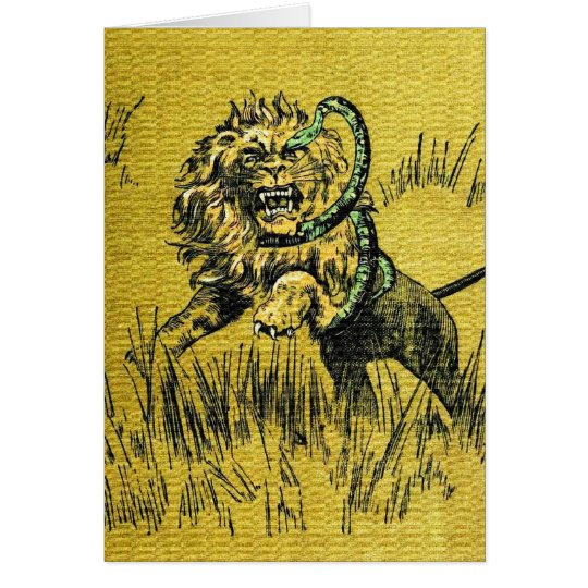 Lion Fighting Snake Card