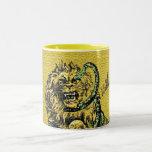 Lion Fighting Snake Coffee Mugs