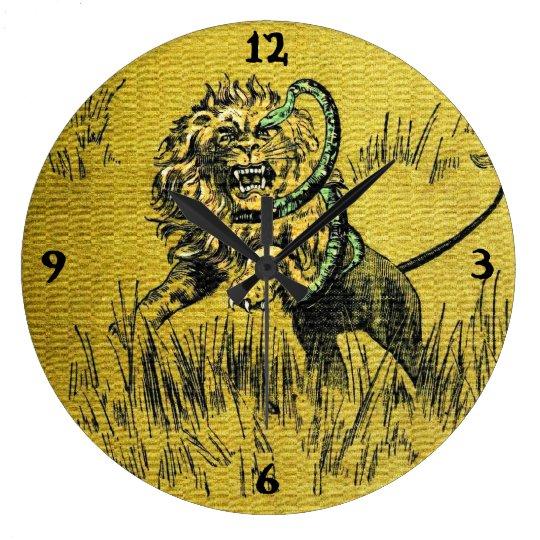 Lion Fighting Snake Large Clock