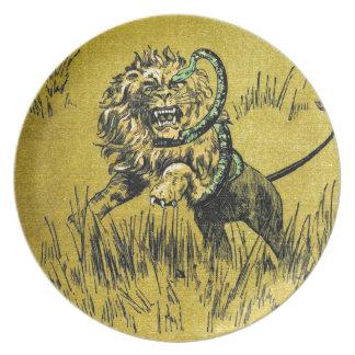 Lion Fighting Snake Dinner Plates