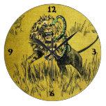 Lion Fighting Snake Wallclock