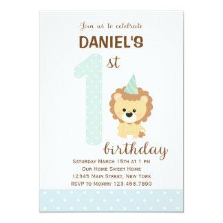 Lion First Birthday Invitation (Blue)