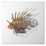 """Lion fish ceramic tile<br><div class=""""desc"""">Decorate your home or beach house with a nautical themed design. This lion fish tile is great for framing or use in a DIY design project. Change the background color to match your project.</div>"""
