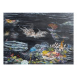 Lion fish painting on photographic print
