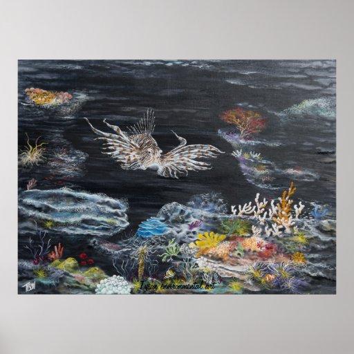 Lion fish painting on print
